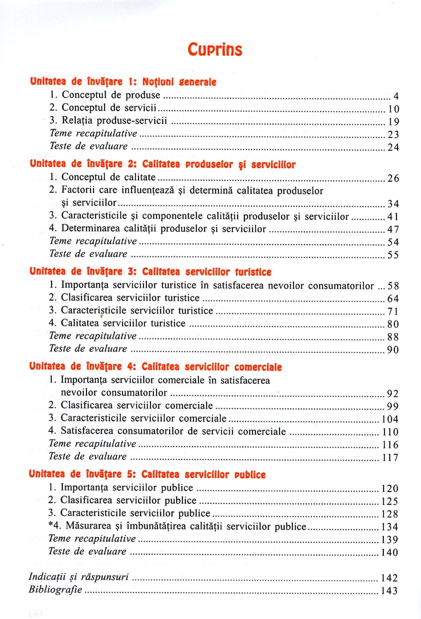 Studiul calității produselor și serviciilor. Manual pentru clasa a X-a